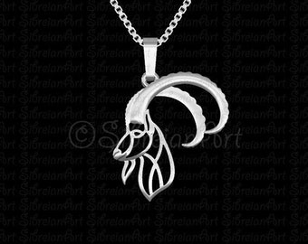 Ibex pendant and necklace - sterling silver - animal lover gift - Nubian Ibex - gift idea - artwork - wildlife - goat - wild - wildlife