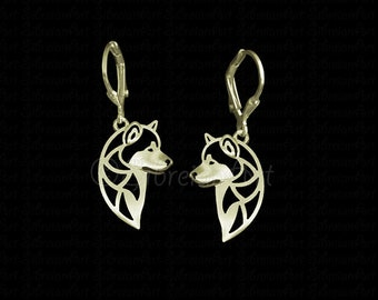 Alaskan Malamute profile earrings - Solid Gold pendant and necklace