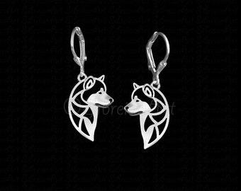 Alaskan Malamute profile earrings - sterling silver