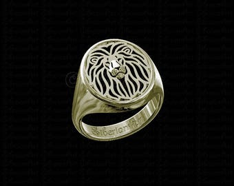 Cat zodiak etsy lion ring solid 14k gold gift for cat lovers animal jewelry wildlife art big cats zodiak leo unisex reheart Choice Image