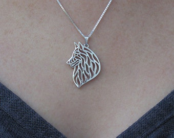 sterling silver pendant and necklace Belgian Groenendael  Tervuren movement