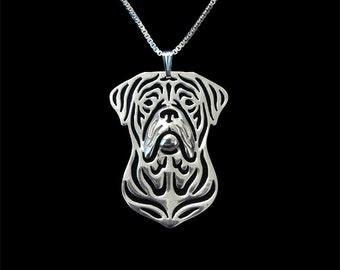 French Mastiff Necklace Silver Plated Dog Pendant on a Snake Chain ArtDog Bordeaux Mastiff Dog de Bordeaux