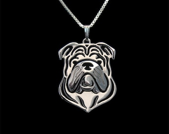 English Bulldog jewelry - sterling silver pendant and necklace