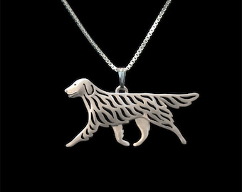 Flat-Coated Retriever - sterling silver pendant and necklace