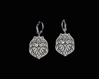Pomeranian earrings - sterling silver