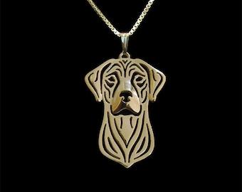 Rhodesian Ridgeback - Gold pendant and necklace