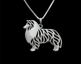 Standing Rough Collie pendant and necklace - sterling silver
