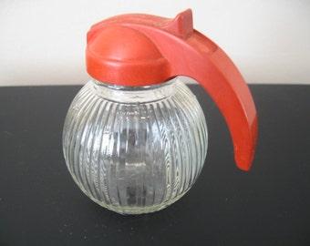Vintage Federal Glass Syrup/Sugar Dispenser With Orange Colored Handle