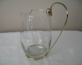 Retro Glass Creamer/Syrup Pitcher With Removable Goldtone Handle