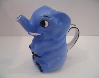 Vintage Goebel Porcelain Blue Elephant Creamer/Syrup Pitcher