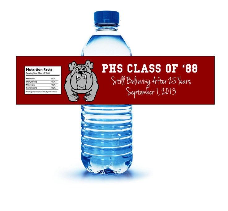 Class Or Family Reunion Water Bottle Label CUSTOM DESIGN