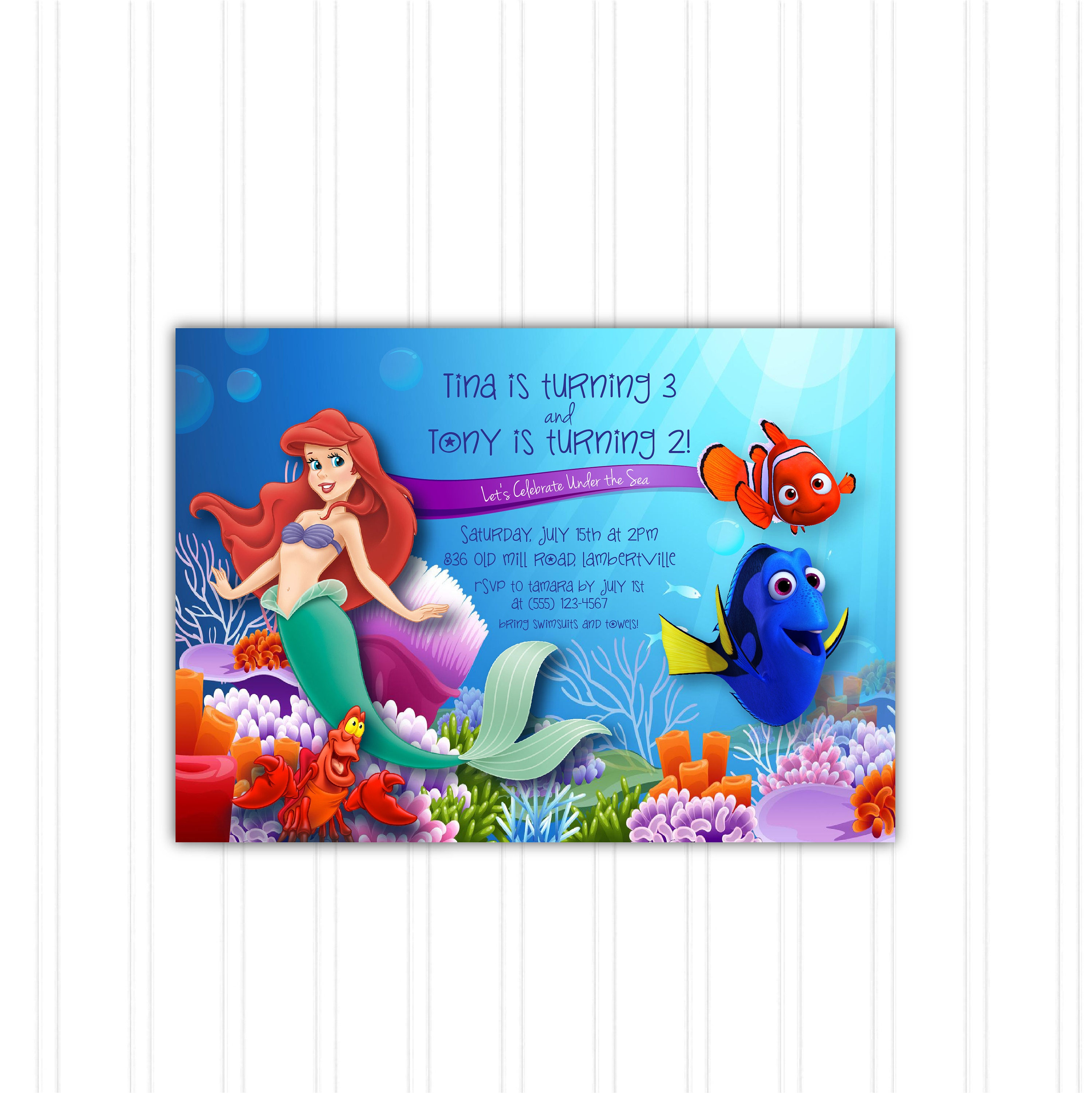 Under The Sea Little Mermaid Finding Nemo And Dory Birthday