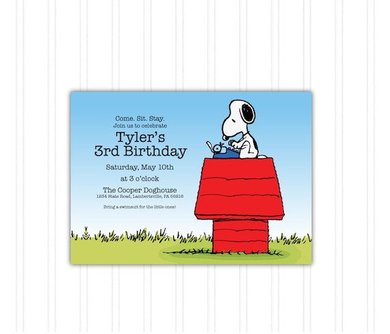 Snoopy Doghouse Peanuts Birthday Invitation Printable Download Print At Home With FREE THANK YOU Card