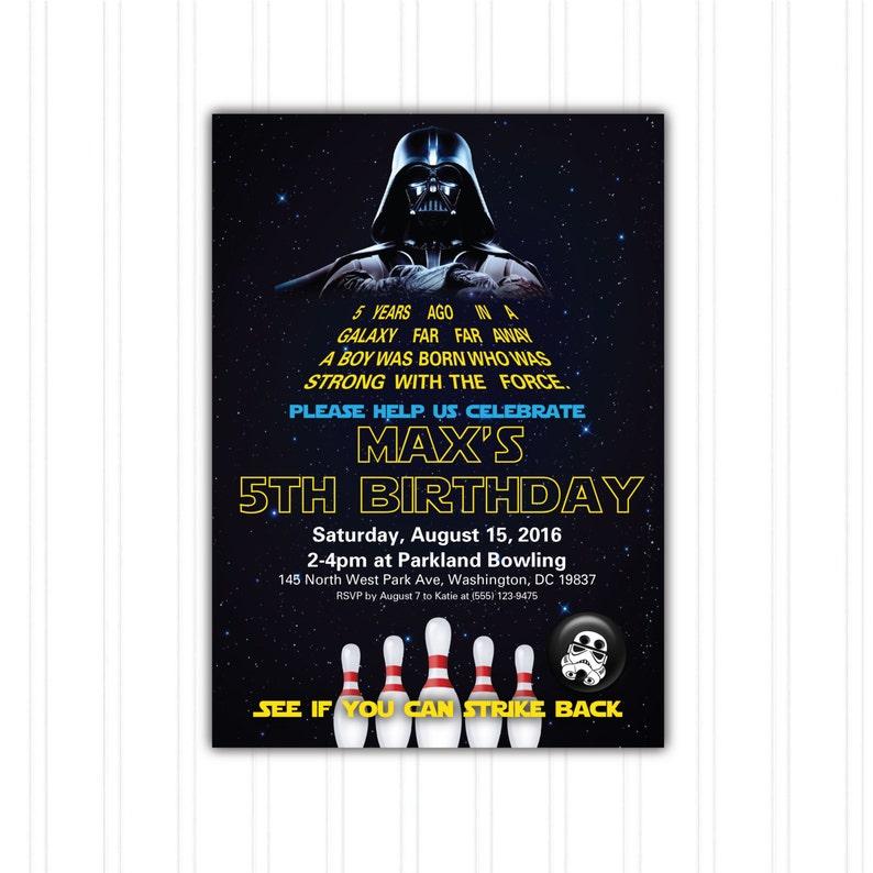 Star Wars Bowling Birthday Invitation Printable Download Print