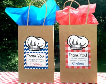 """Cooking Gift Bags WITH Labels • Gift Bag size 5 1/2"""" x 3 1/4"""" x 8 3/8"""" •  SMALL"""