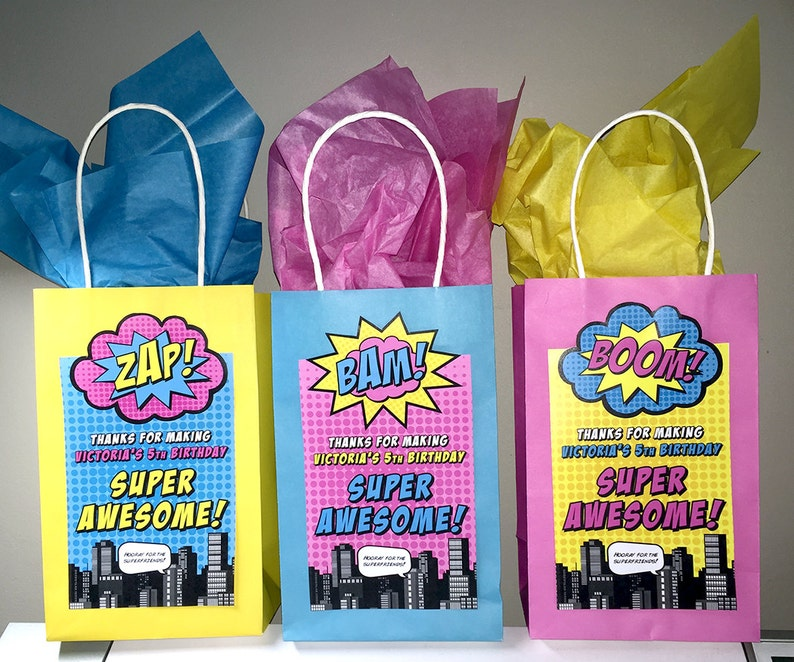 Superhero Gift Bag Labels 7x 4 \u2022 GV1 \u2022  INSTANT DOWNLOAD