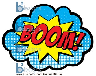 Superhero Signs • Boom, Pow, Zap, Bam • 8.5 x 11 Front to Back • Instant Download