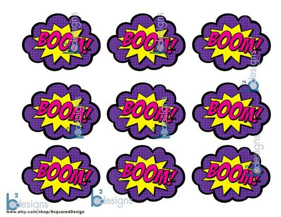 Superhero Cupcake Toppers Boom Bam Zap Pow Pop Gv1 Color Instant Download