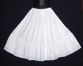 Vintage Style White Cotton petticoat Broderie Anglaise trim Sizes 6-22 Available Wedding,Bridesmaid,Steampunk, Goth,Rockabilly