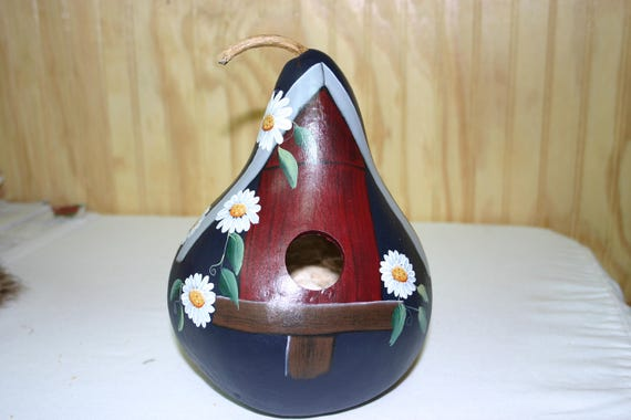 Birdhouse Gourd Painted  with White daisies