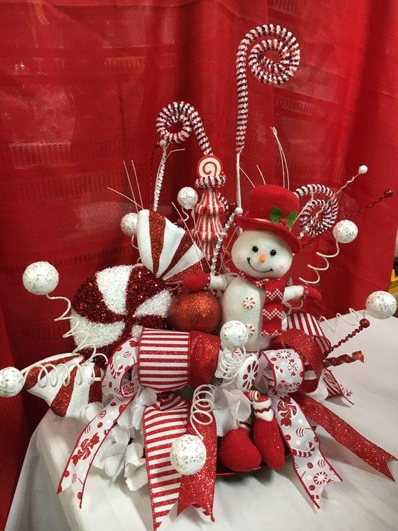 Snowman Christmas Candy Cane Centerpiece