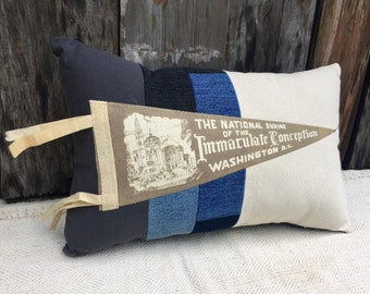 American Roadtrip Pennant Pillow, National Shrine of the Immaculate Conception, Washington DC - Decorative Pillow