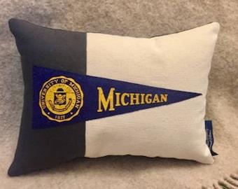 University of Michigan College Hoops American Roadtrip Pennant Pillow