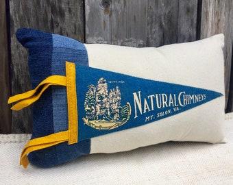 American Roadtrip Pennant Pillow, Natural Chimneys, Mt. Solon, Virginia - Decorative Pillow - Cabin Decor
