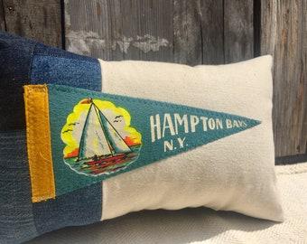American Roadtrip Pennant Pillow, Hampton Bays, New York - Decorative Pillow