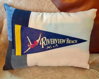 American Roadtrip Pennant Pillow Riverview Beach, New Jersey