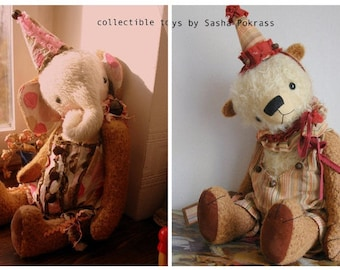 SUPER DEAL 2 Pdf Epatterns for 20 inch Circus Bear and Elephant plus the Patterns for Clown's Hats and Outfits by Sasha Pokrass