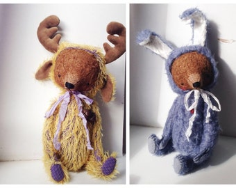 For Christmas PDF Epattern for 13 inch Bear in Bunny's and Moose's Suit by Sasha Pokrass