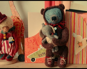 Super DEAL 2 PDF Epatterns for 13 inch Teddy Bear from Childhood and 5 inch Clown Elephant Girl - by Sasha Pokrass