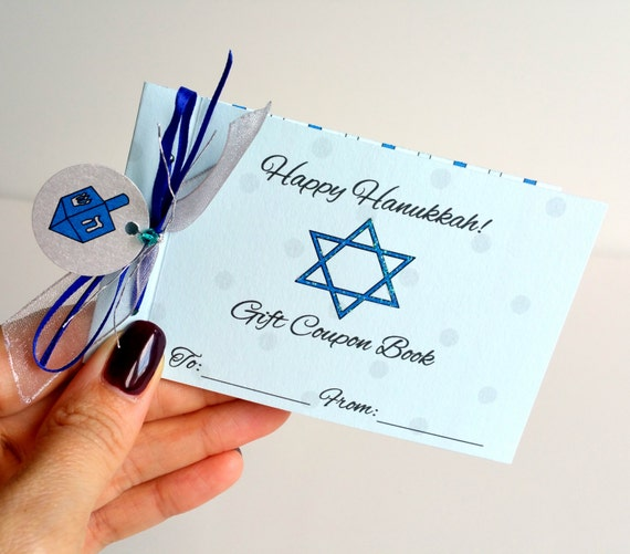 happy hanukkah personalized coupon book for kids chanukah gift etsy