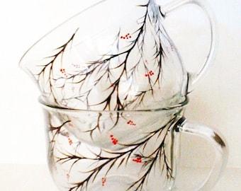 Hand Painted Coffee/Cocoa Mugs - Christmas Berries