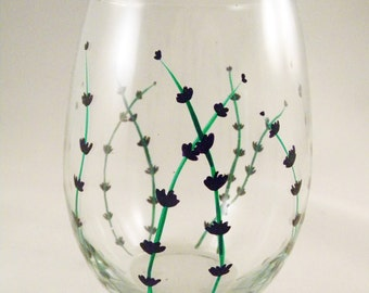 Lavender - Hand Painted Wine Glasses