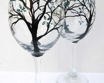 Hand Painted Wine Glasses - Teal Petals