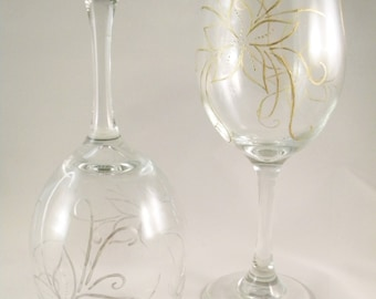 Hand Painted Wine Glasses - Silver & Gold