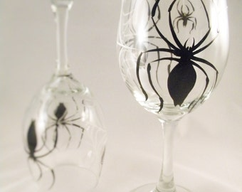 Hand Painted Wine Glasses - Spider Web