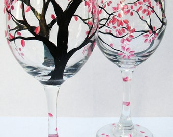 Hand Painted Wine Glasses - Pink Petals