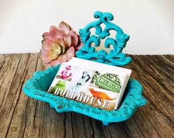 BOLD Aqua Turquoise Blue Business CARD HOLDER Soap Dish // Ornate Floral //  Bathroom Office Decor // Victorian Nautical Shabby Chic