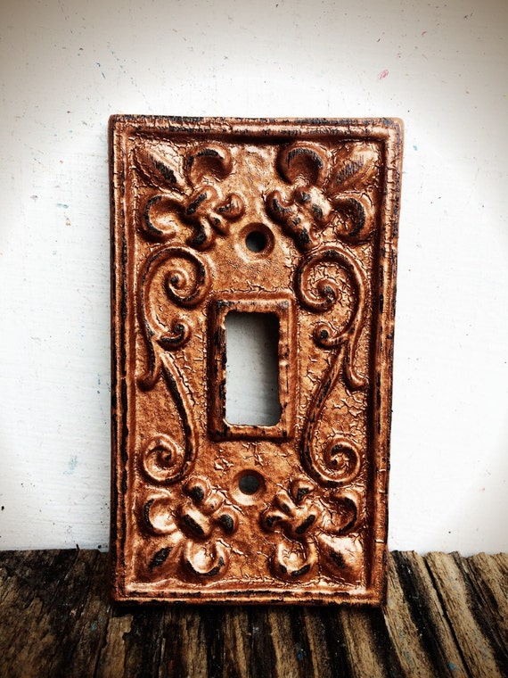 Rustic Hammered Copper Modern Farmhouse Light Switch Plate Cover Metal Fleur De Lis Kitchen Decor French Country Bathroom Lighting
