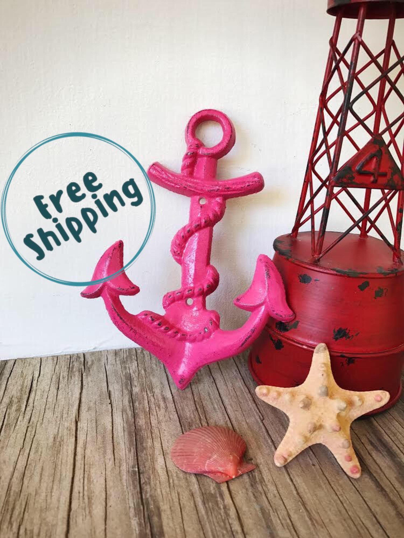Hot Pink Anchor Towel Hook  Teen Girl Bathroom Decor -9590