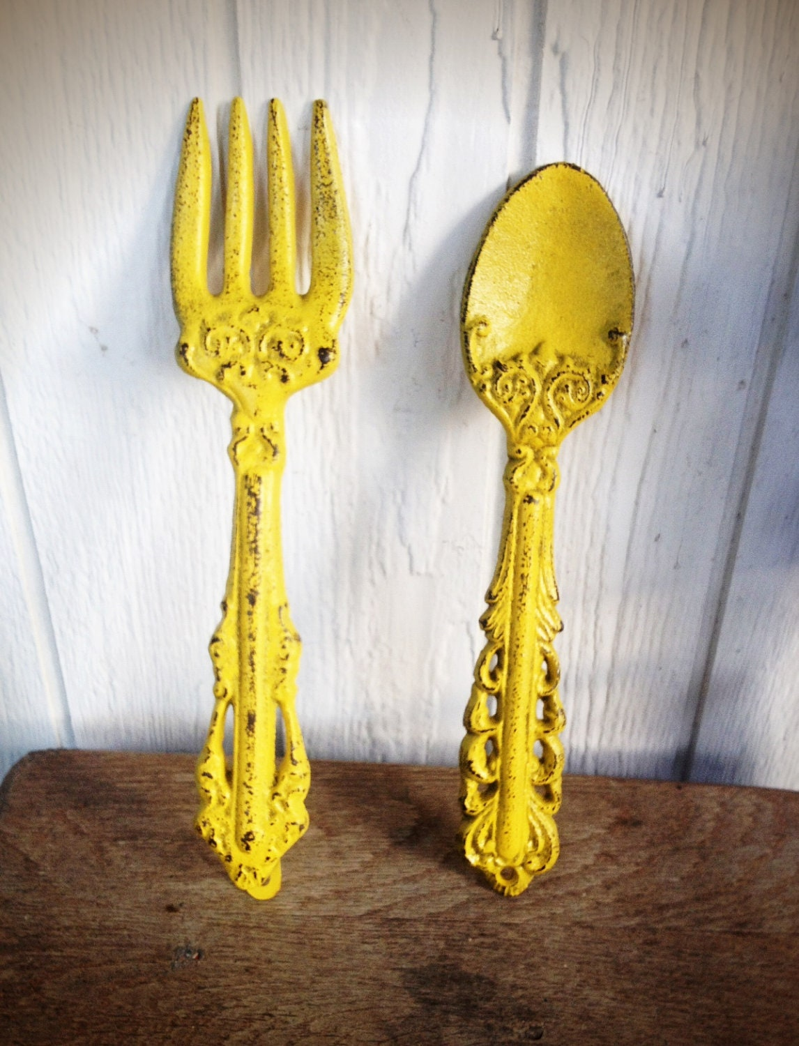 BOLD sunny canary yellow KITCHEN wall decor // ornate fork and   Etsy
