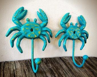 BOLD turquoise aqua blue & yellow tropical crab wall hooks // nautical beach house nursery bathroom decor // shabby chic // towel coat hook