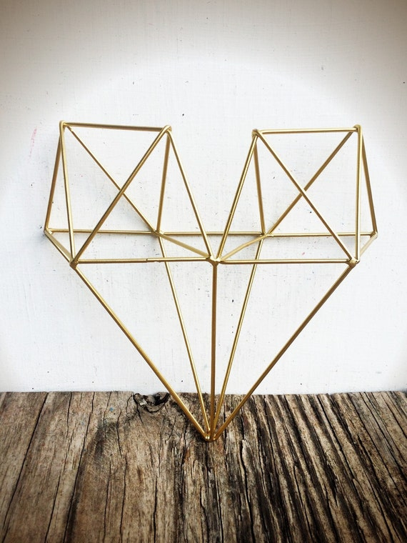 BOLD 3D geometric metal heart wall art // metallic gold leaf | Etsy