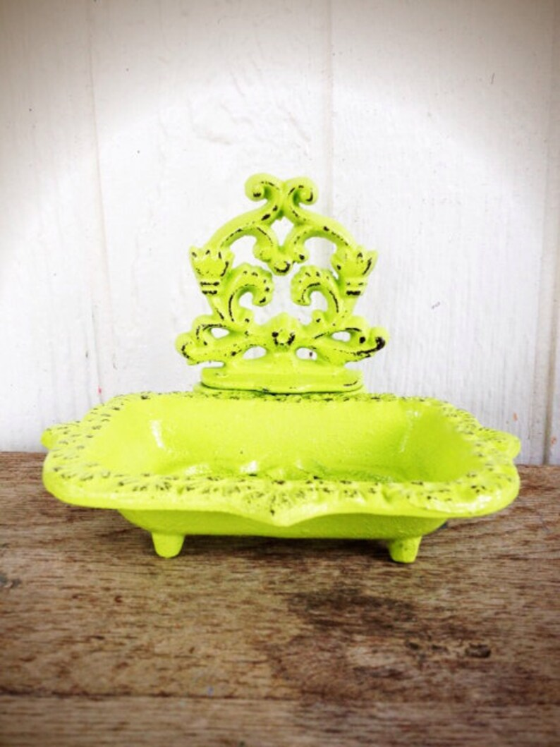 Chartreuse Lime Green Business Card Holder or Soap Dish  Modern Victorian Office Storage  Rustic Kitchen Accessory  Housewarming Gift