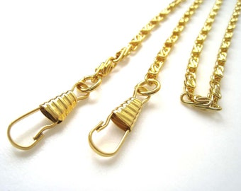 Gold Bag Chain with Clasps - Long Chain for Hand Bag and Clutch Bag (123 cm long)