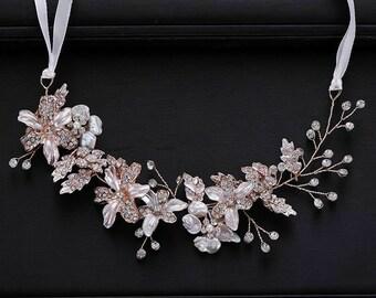 Wedding Tiara Flower Hair Bridal Bride Wedding Haircomb Accessories,Crystall Comb, sparkling
