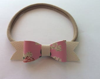 Pink Floral, Ivory Leatherette Bow Headband, Newborn Headband, Toddler Headband, Elegant Headband, Photo Prop, Newborn Photos, Baby Girl